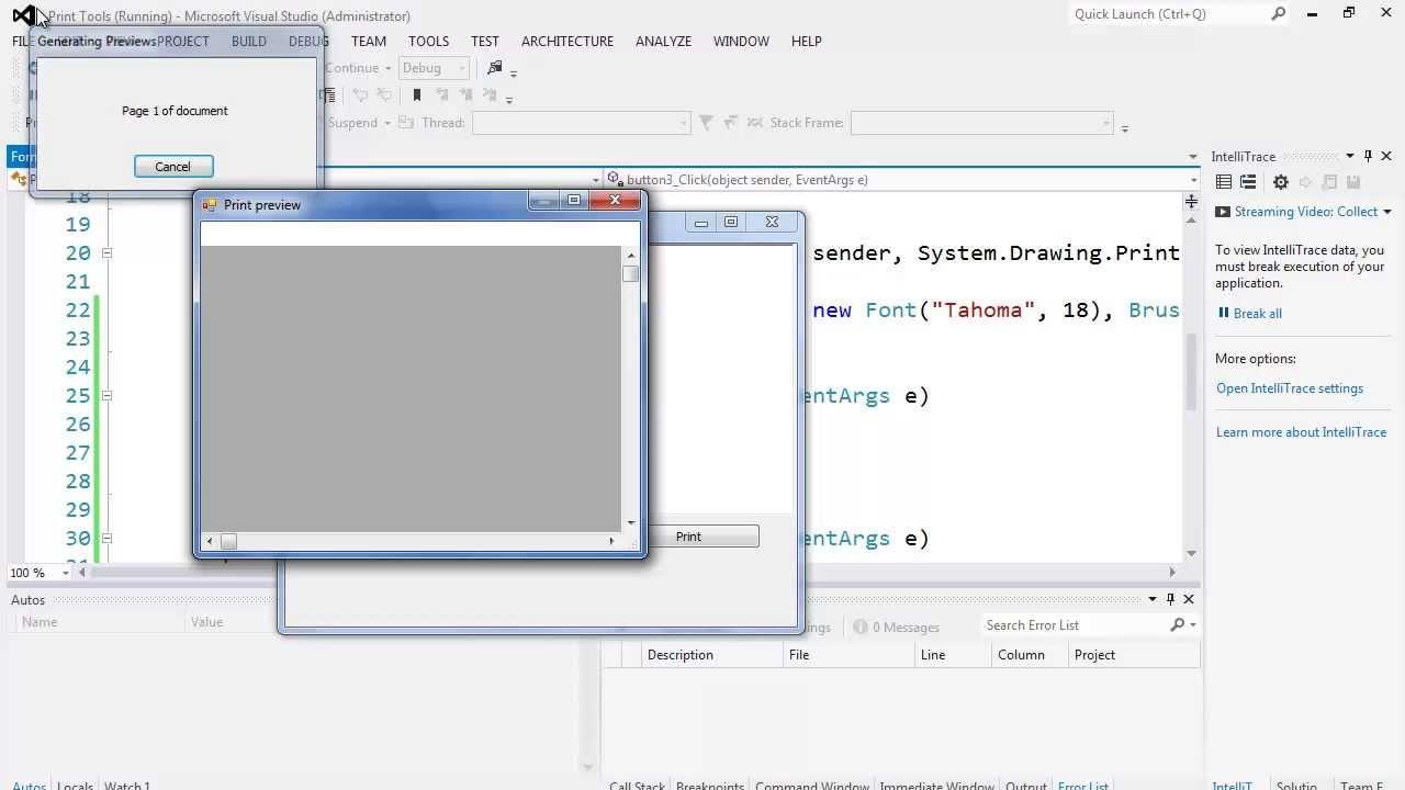70. برمجة الواجهات - أدوات الطباعة - PageSetupDialog, PrintPreviewDialog, PrintDialog, PrintDocument