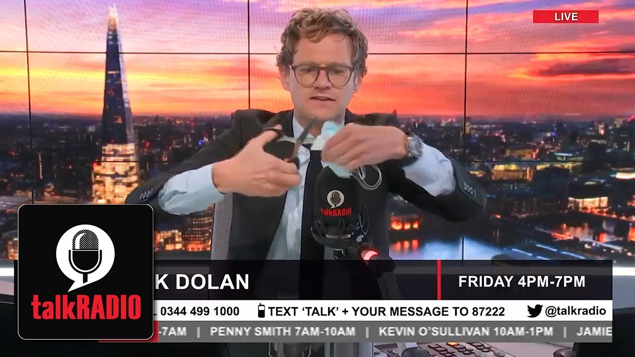 """Mark Dolan cuts up his face mask live on air: """"Wearing a mask is the new woke"""""""