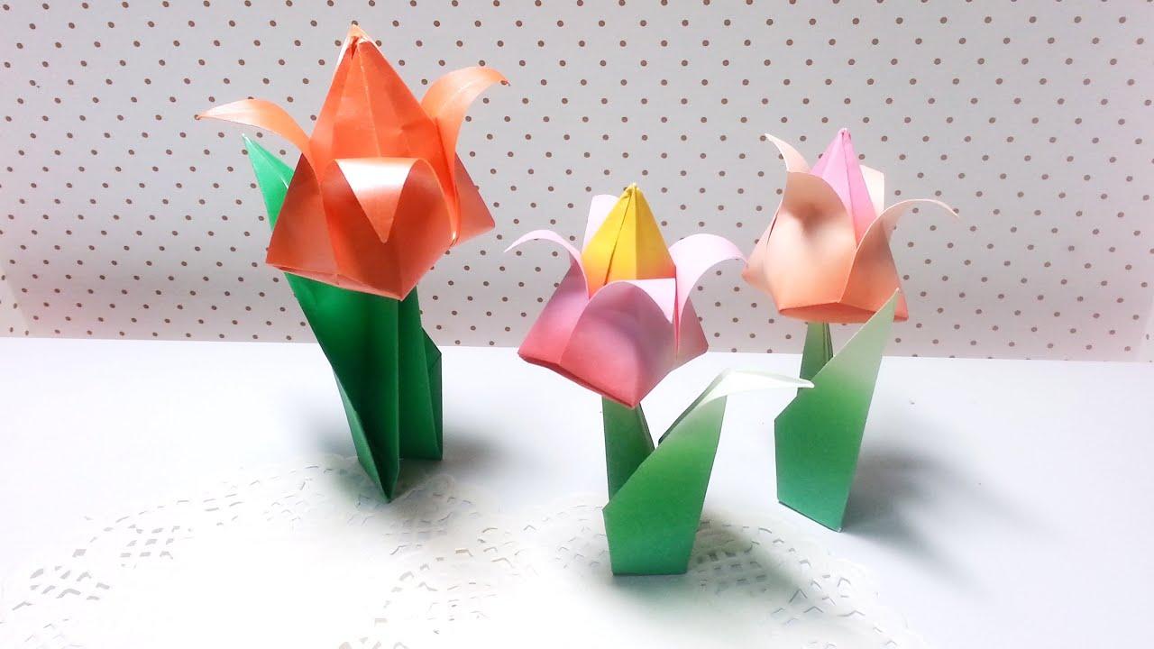 Origami - Tulip (Flower) / 종이접기 - 튤립 (꽃) - YouTube - photo#1