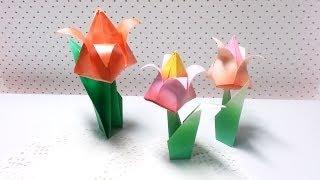 Origami - Tulip (flower) / 종이접기 - 튤립 (꽃)