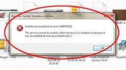 How to fix Installer encountered an error 0x80070422