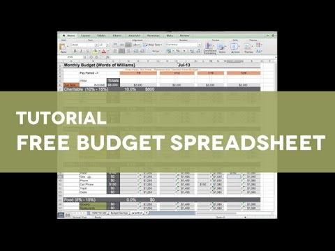 Free Budget Spreadsheet Tutorial - Words of Williams