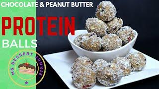 Chocolate & Peanut Butter Protein Balls Recipe | Msdessertjunkie