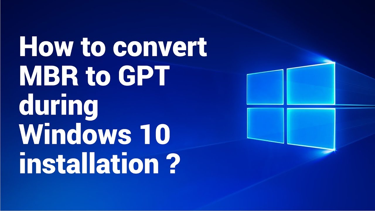 How To Convert Mbr To Gpt During Windows 10 Installation 2017 Youtube