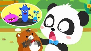 bad-germs-on-the-bear-doll-super-bubble-rangers-doctor-pretend-play-kids-good-habits-babybus