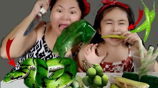"""Funny""ASMR Eating Green Foods