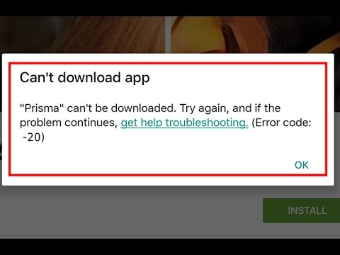 How to fix google play store error code 20
