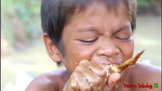 Primitive Technology - Eating delicious - Awesome cooking chicken wing