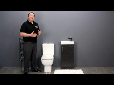 Ash Black Vanity Unit & Space Saving Toilet for Small Bathrooms