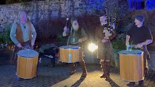 """Scottish band Clanadonia playing """"Hamsterheid"""" by the river Tay for Perth's 2020 Burns celebrations"""