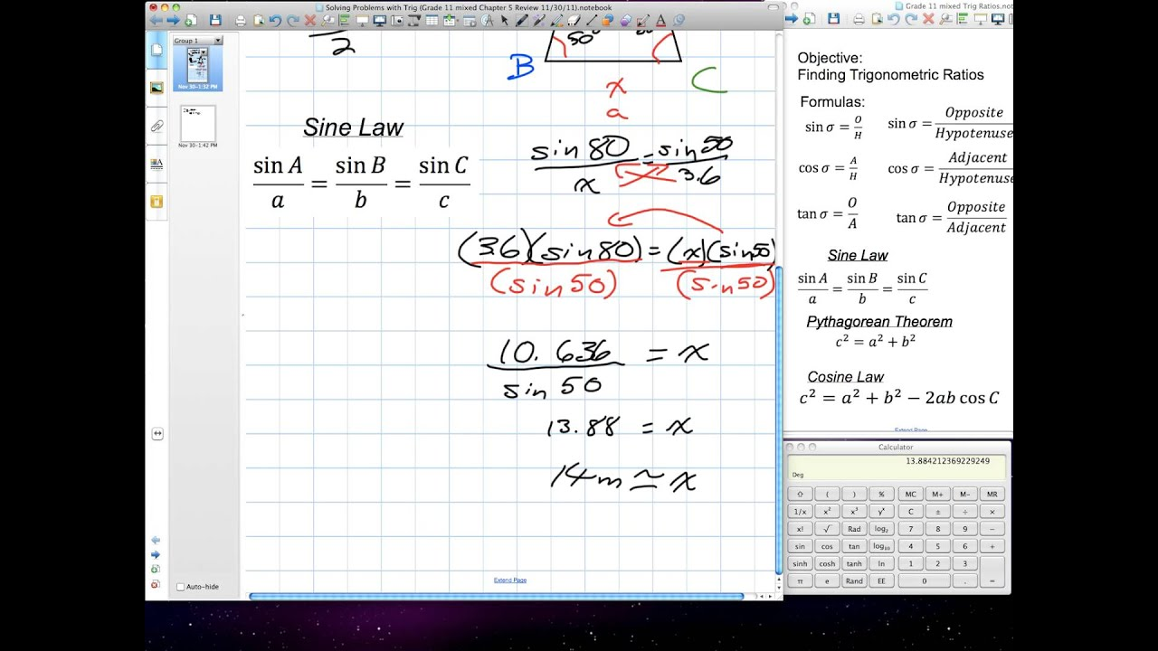 Solving Problems with Trig (Grade 11 mixed Chapter 5 Review 11:30:11) mov