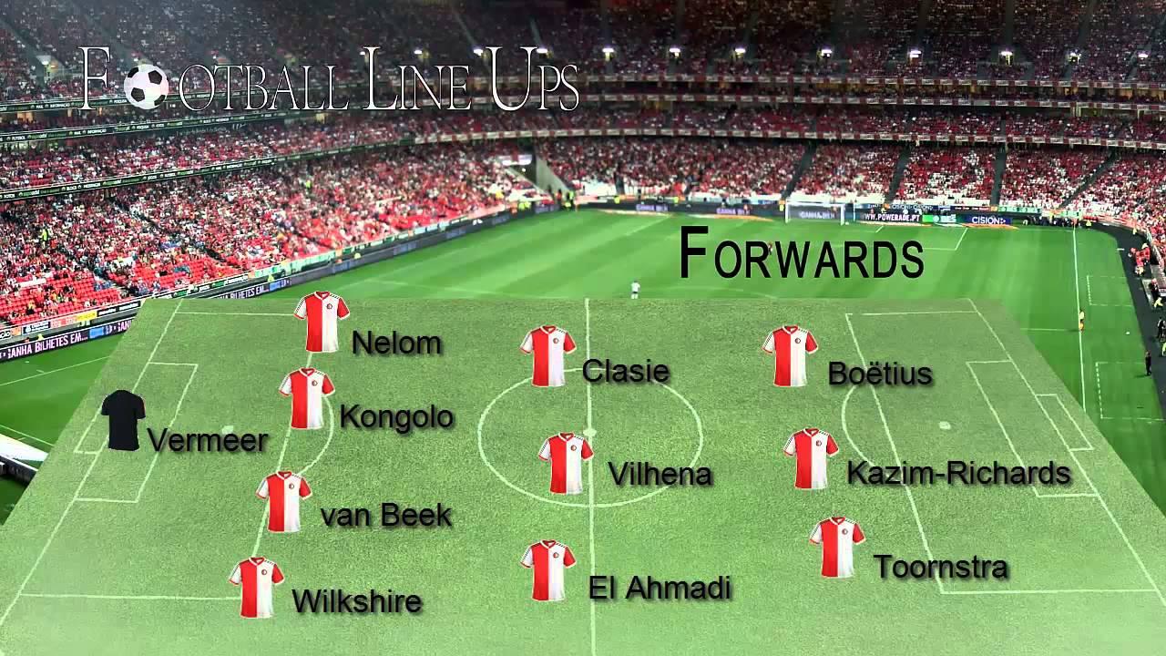 Feyenoord 2-0 PEC Zwolle (Opstelling Feyenoord) Eredivisie ...