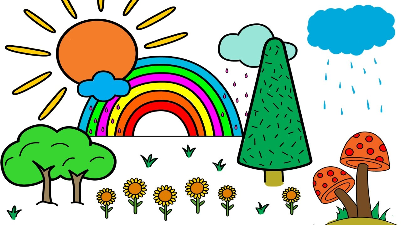 Coloring Pages Sun Rainbow Flower and Mushroom Coloring Video For ...