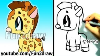 How to Draw a Cartoon Giraffe - Cute Drawings - Fun2draw