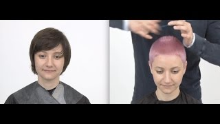 Buzzed Haircut / Short Hair Girl/ Pink Pixie Cut