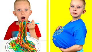 Martin pretends to play with Rainbow Pasta - New Story Collection for Kids