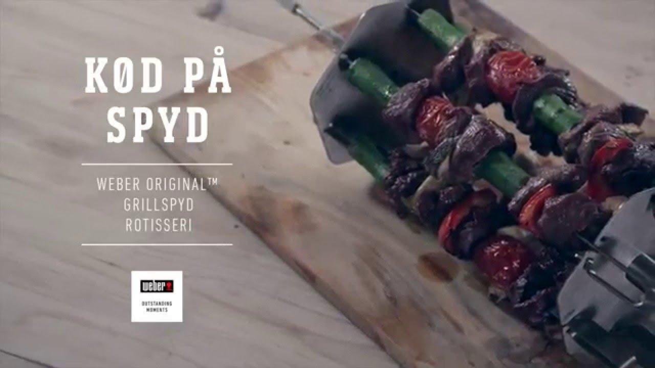 Efterstræbte Kebabspyd på rotisseriet, Webers Grillopskrifter - YouTube CF-05