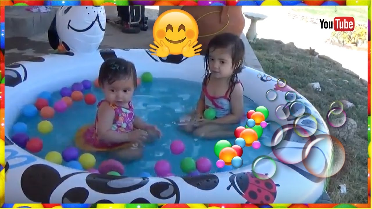 KIDS Outdoor Inflatable SWIMMING POOL With MINI Ball PIT Sisters Playing TIME