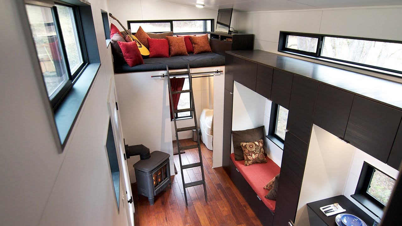 Modern tiny house on wheels slideshow short tour youtube - Tiny contemporary house interior ...