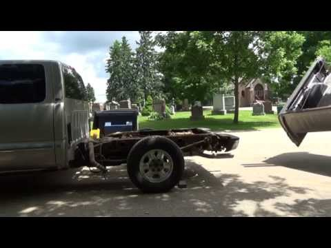 GMC truck bed removal and brake line fixing