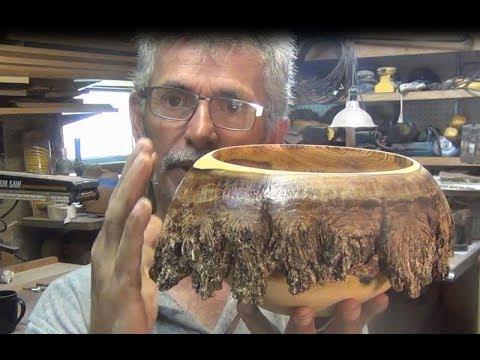 Wood turning torching a melting bowl by Al Furtado