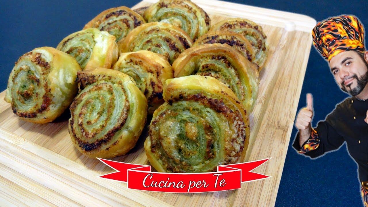 Girelle di pasta sfoglia al pesto ricette veloci youtube for Ricette pasta veloci