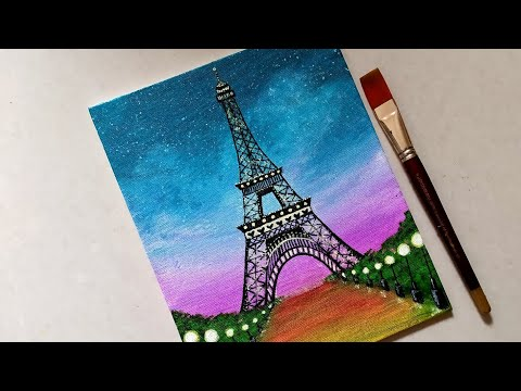 Easy Eiffel Tower scenery Drawing & Painting for beginners || Step by step acrylic painting tutorial