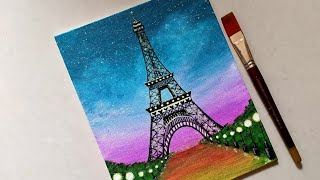 easy beginners painting drawing tower eiffel scenery tutorial acrylic