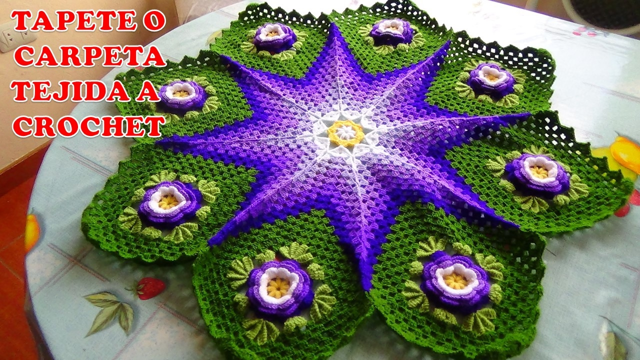 Tapete o carpeta tejida a crochet o ganchillo paso a paso for Tapetes de ganchillo