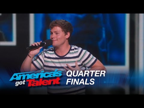 Drew Lynch: Stuttering Comedian Jokes About His Service Dog – America's Got Talent 2015