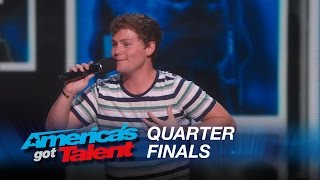 Drew Lynch Stuttering Comedian Jokes About His Service Dog America s Got Talent 2015