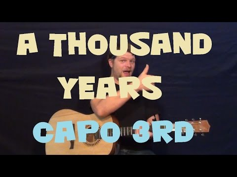 A Thousand Years Christina Perri Easy Guitar Lesson Strum Chords How to Play Tutorial  Capo 3rd