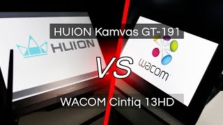 HUION KAMVAS GT-191 vs WACOM CINTIQ 13HD | Review and Comparison