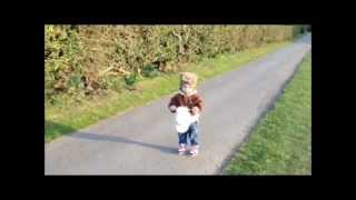 Cute Toddler Riding Her Toy Hobby Horse