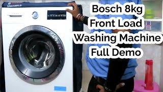 Bosch 8kg Serie-6 Front Load Washing Machine Full Demo + Review 2019 In Hindi-bosch-laundry Machine