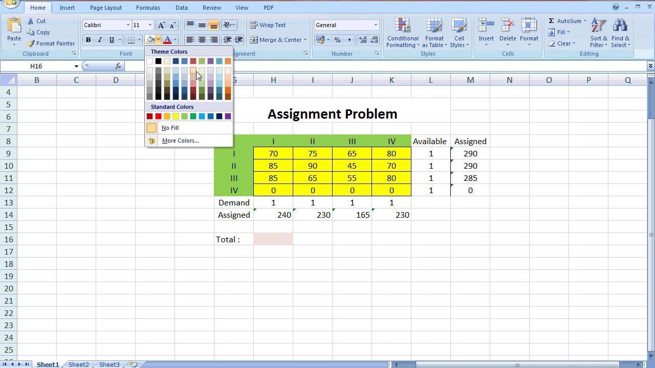 assignment problem solving by using excel solver  assignment problem solving by using excel solver