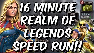 INSANE 16 Minute Realm of Legends Speedrun with 5 Star Captain Marvel! - Marvel Contest of Champions