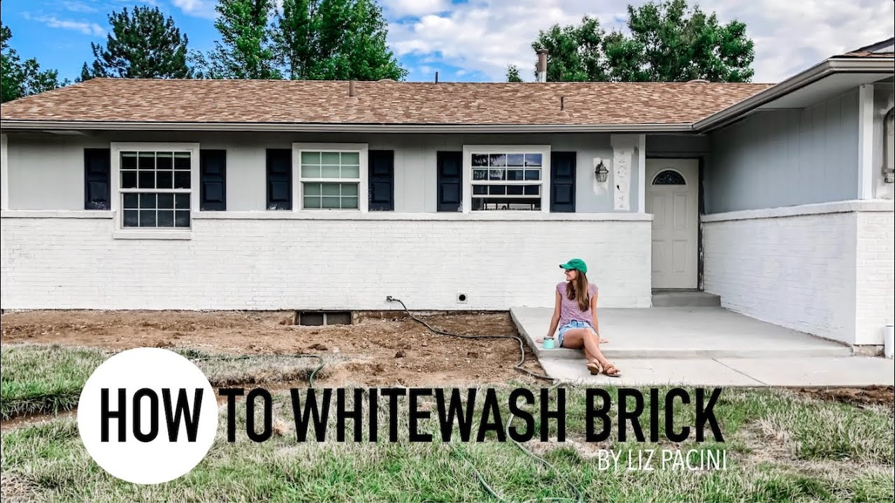 How To Whitewash Brick House Exterior We Improved Our Curb Appeal For Under 150 Youtube