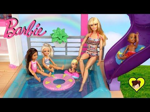 Rutina de Mañana en Nueva Casa de Barbie con Piscina! - Dreamhouse Adventures
