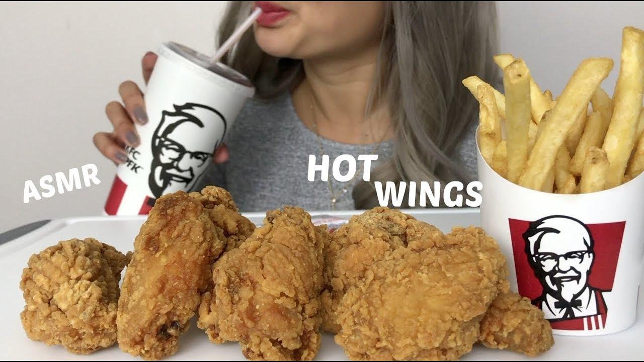 ASMR | CRUNCHY KFC HOT WINGS | Eating Sounds | No Talking | N.E Lets Eat