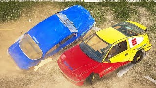 CLASSIC BLUE CAR WRECKS EVERYONE! DEMO DERBY RACING! - Next Car Game Wreckfest