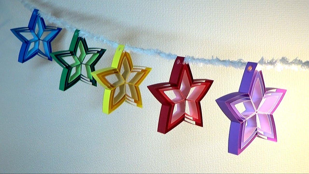 (画用紙)七夕・クリスマス飾り 簡単!星の飾りの作り方【DIY】(Drawing paper)Tanabata / Christmas decorations Simple! Star