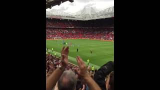 manchester city fans taking over old trafford after 2 1 victory away at manchester united
