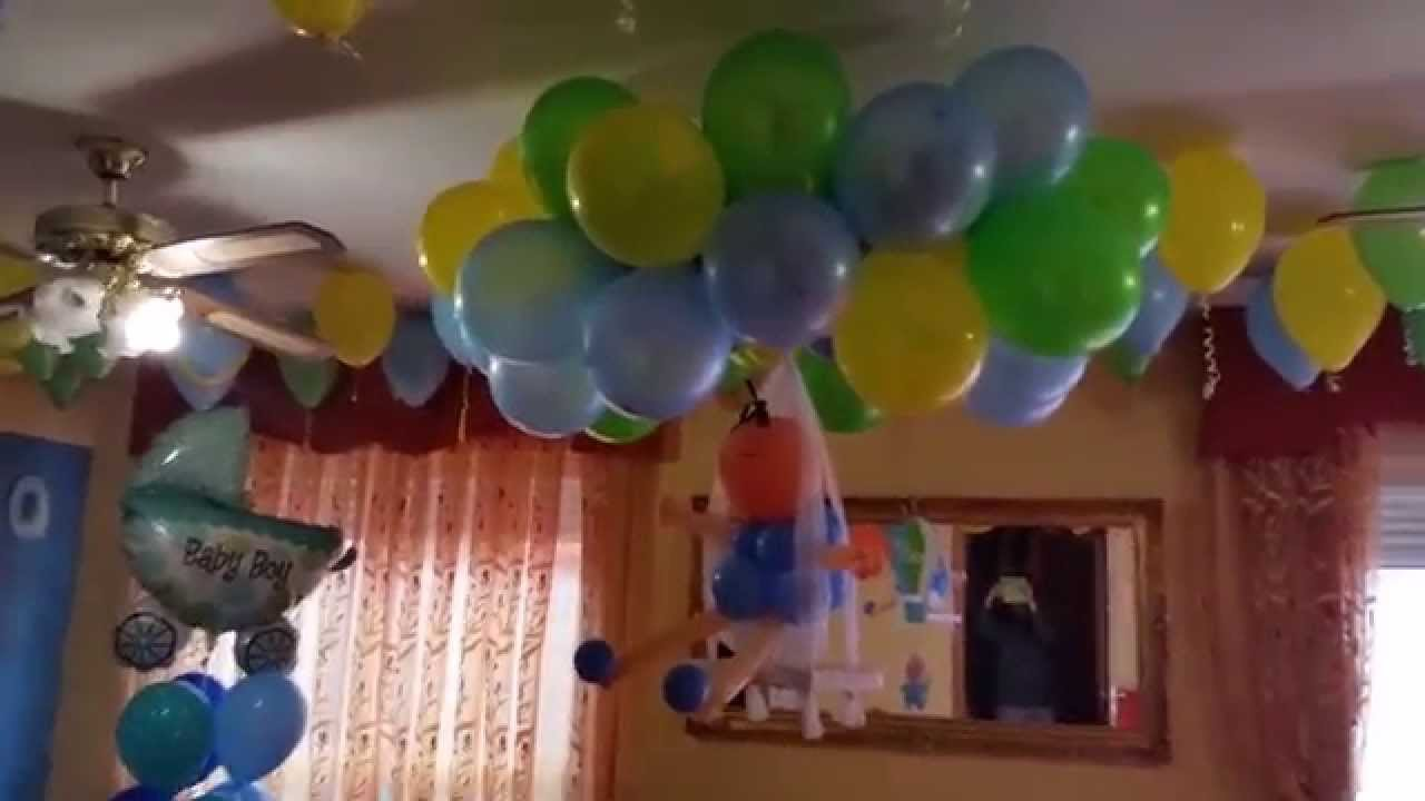 Decoraci n con globos para baby shower youtube - Adornos globos economicos ...
