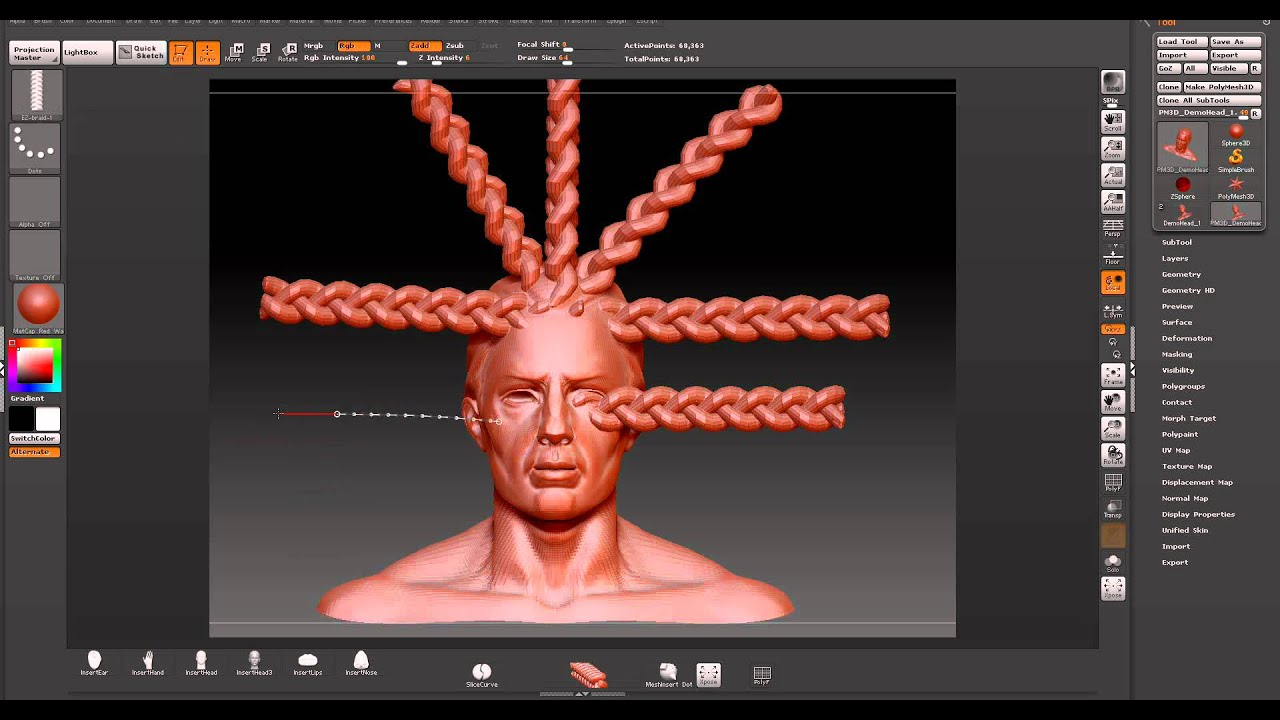 zbrush 4r2 braid brushes youtube