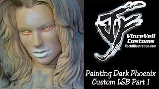 Painting Up Dark Phoenix Custom LSB Bust Part 1
