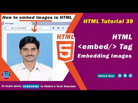 HTML Video Tutorial - 39 - Html Embedding  An Image