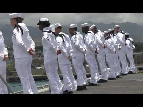 Stock Footage of USS America entering Pearl Harbor