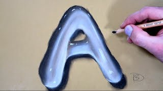 How to Draw a Letter A in Water With Dry Pastel pencils