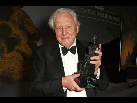 Sir David Attenborough accepts the Beyond Theatre award at the Evening Standard Theatre Awards 2016
